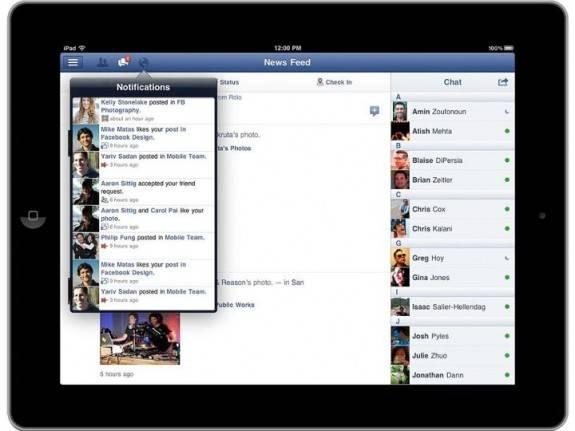 Facebook ipad notifications