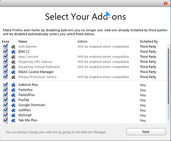Firefox 8 Select your addons - Download Firefox 8.0 final from Mozilla's ftp server