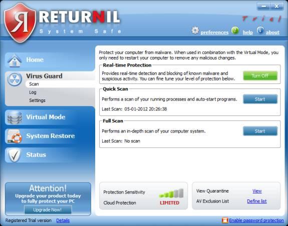 Returnil virus Scan
