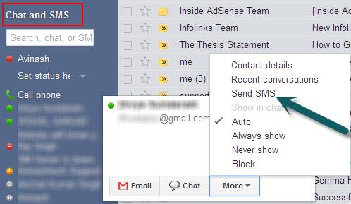 Send free SMS, Text Messages with Gmail Chat 1