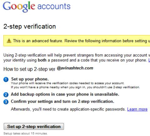 How to set up 2-step verification process for your Google Account