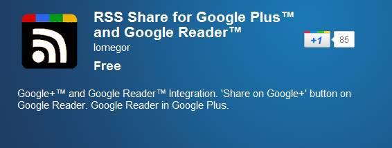 Google Reader Google+ - Add Google Reader and Share option inside Google+ [Chrome Extension]