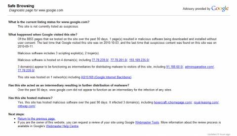 Google safe browsing says Google.com is risky