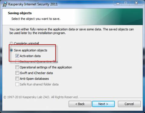 How to save Kaspersky activation data while uninstalling