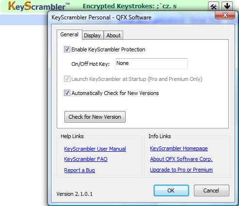 Protect your login details, credit card numbers, passwords etc. with Keyscrambler
