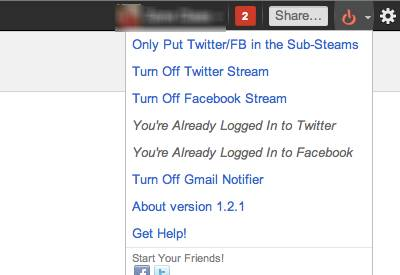 Read, update Facebook, twitter and Gmail Notifier from Google+ stream with Start G+ extension