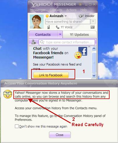 How to delete Yahoo messenger online chat history