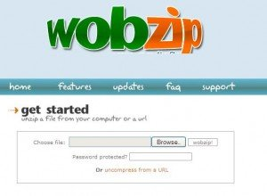 Unzip files online with Wobzip