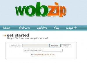 Unzip files online with Wobzip