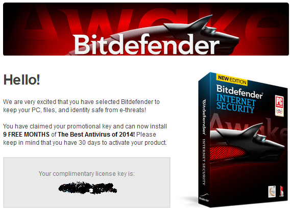Bitdefender Internet Security 2014 license key