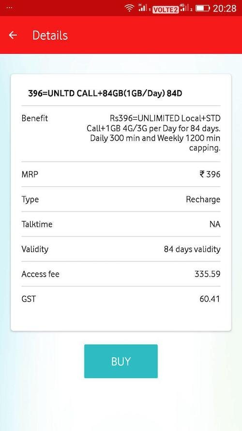 Vodafone copies Jio, Offers Rs. 396 Plan with 84GB 4G Data for 84 Days 2