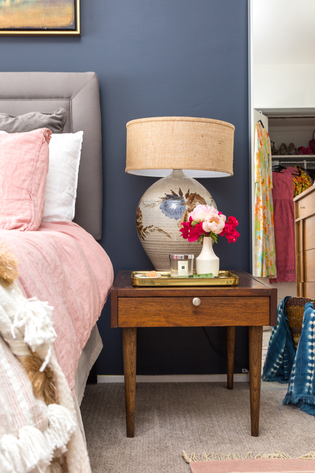 Boho Chic Navy and Pink Bedroom  A Vintage Splendor at Home