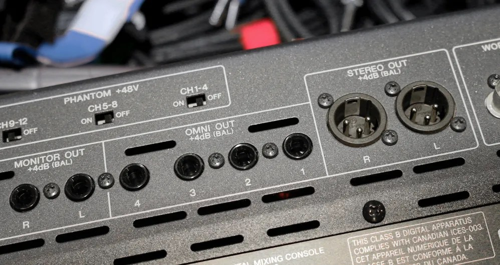 The output jacks on this console all output a balanced signal, even though they use two different types of connectors.