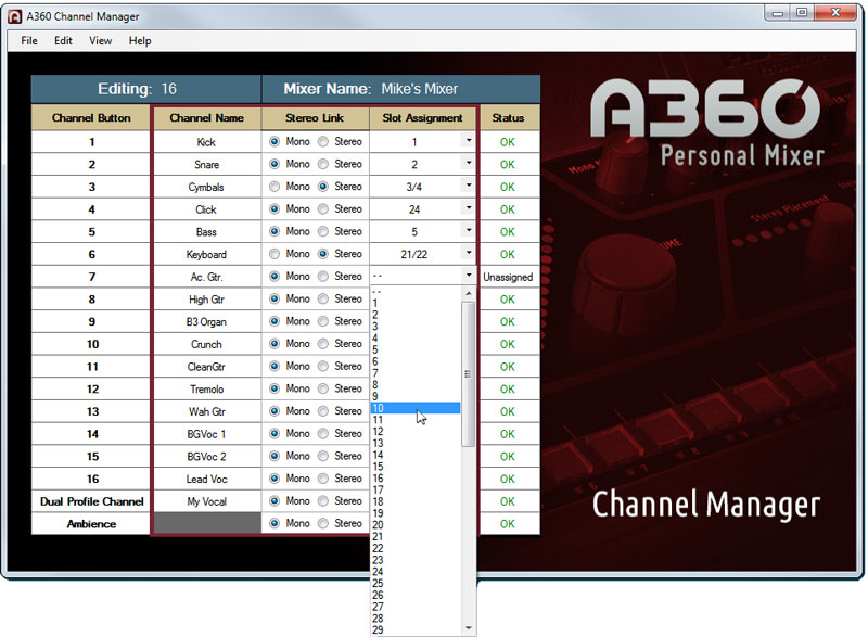 Select a channel from the list to assign it to a button.