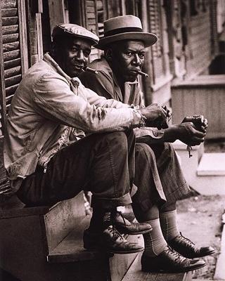 African American Men Sitting on Stoop Charleston SC 1962