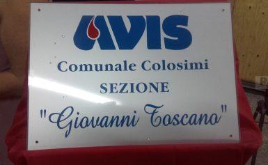 Intitolazione sede AVIS Comunale di Colosimi a Giovanni Toscano