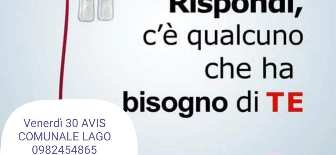 Prossime donazioni a Lago, Bisignano e Mirto