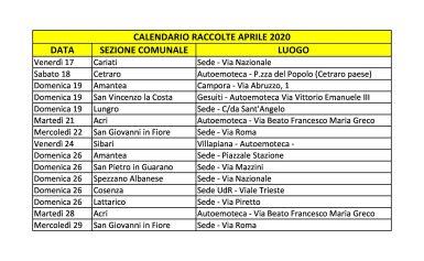 Calendario raccolte sangue dal 17 al 29 aprile 2020