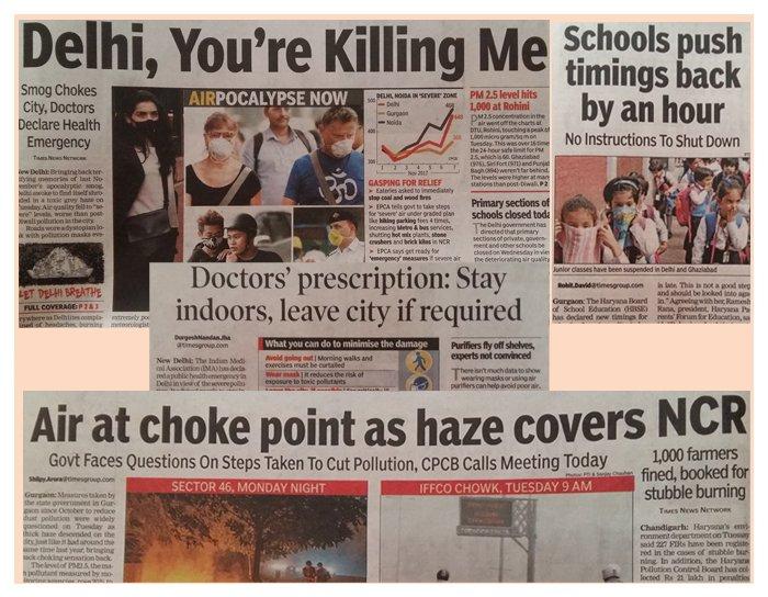 Smog Chokes City, Doctors Declare Health Emergency – TOI 8th Nov 2017