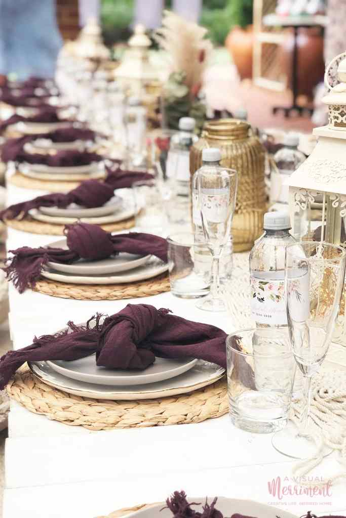 bachelorette party table place settings and decor