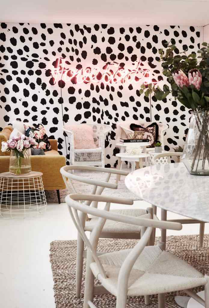 bold wallpaper seating area office space