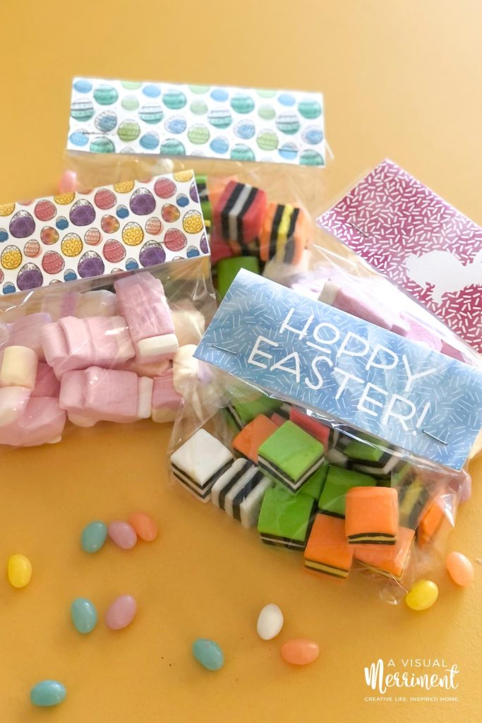 Easter printable packaging with treats in bags