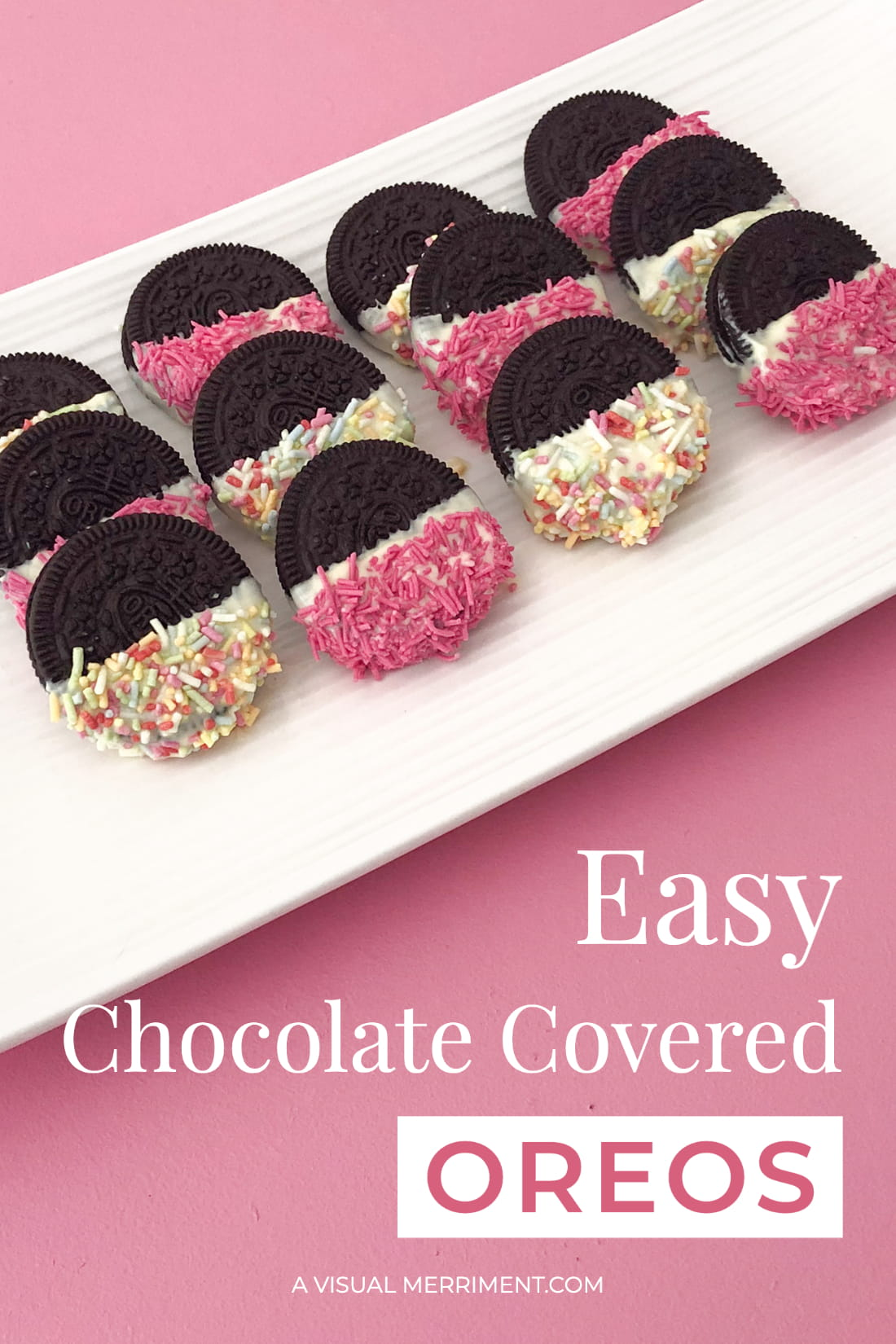 Sprinkle covered oreos on white plate against pink background