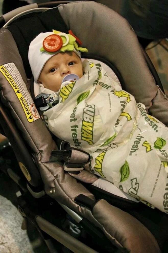 DIY baby subway wrap halloween costume