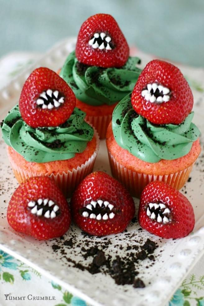 strawberry decorated halloween cupcakes