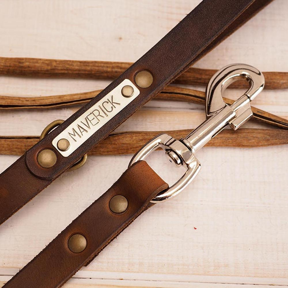 leather dog leash with metal name plate