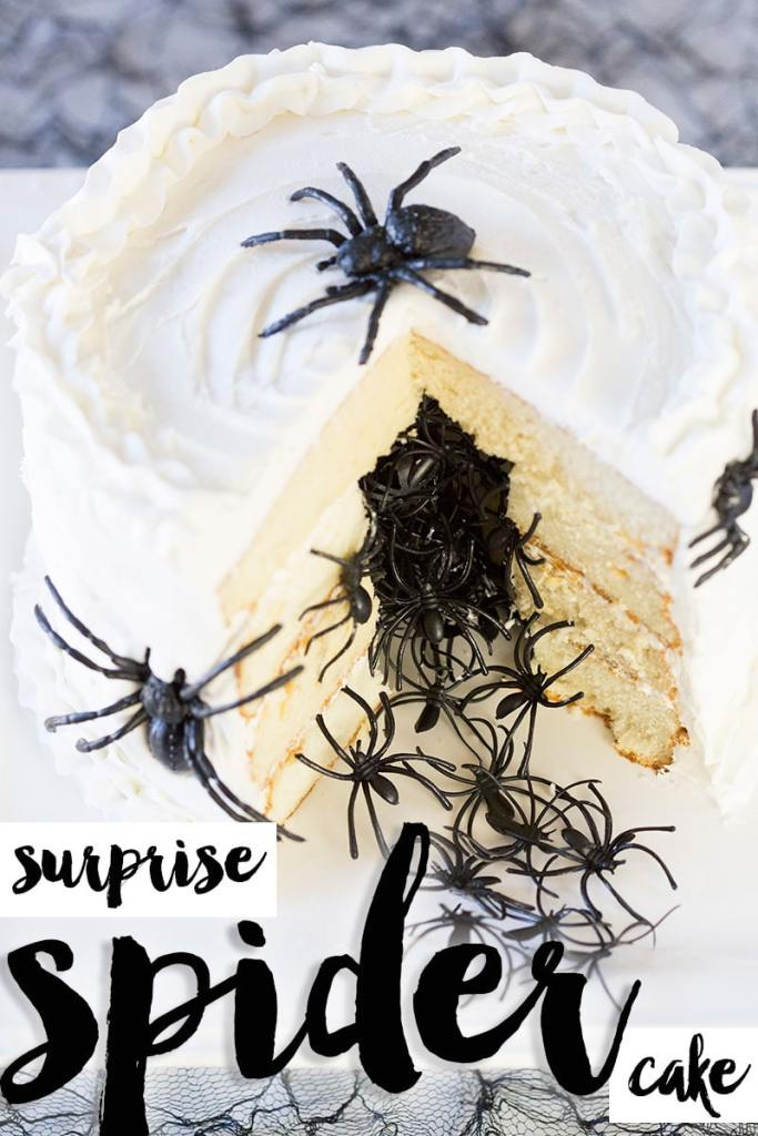 plastic spiders falling out of white halloween cake