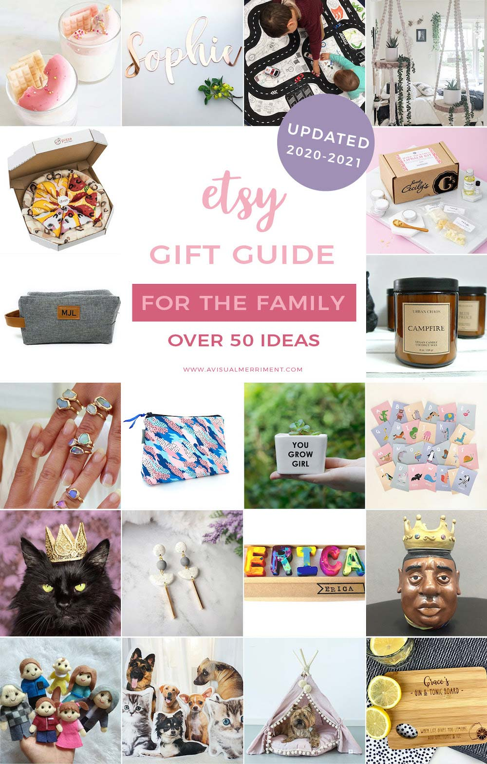 graphic of various family gift ideas available on etsy