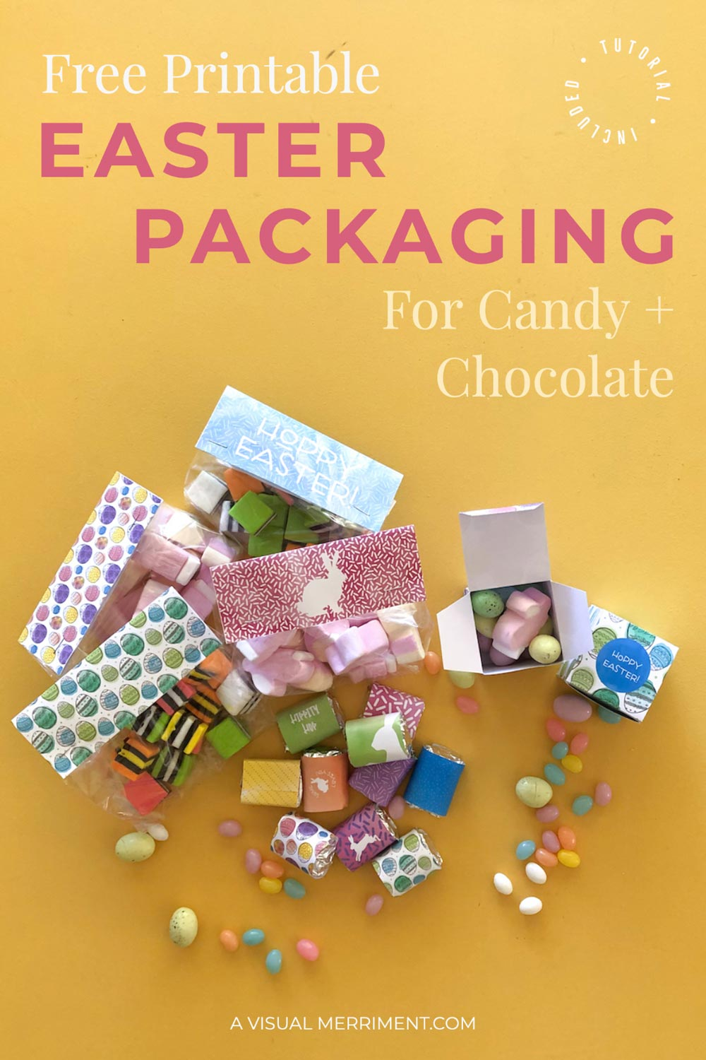 Colourful Easter printable packages with lollies and chocolate eggs