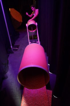 'Giant Spring Drum' that you can hit on one end while someone lies inside the other end.