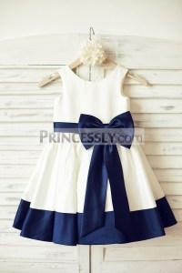 Ivory Satin Sleeveless Flower Girl Dress with Navy Blue ...