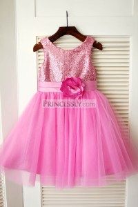 Hot Pink Sequin Tulle Pleated Wedding Flower Girl Dress