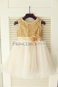 Gold Sequins Ivory Tulle Flower Girl Dress with Champagne ...
