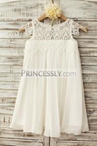 Boho Beach Lace Cap Sleeves Ivory Chiffon Flower Girl ...