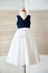 Boho V Neck Navy Blue Pleated Ivory Chiffon Beach Wedding ...