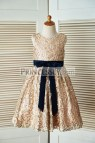 Navy Blue and Gold Flower Girl Dresses
