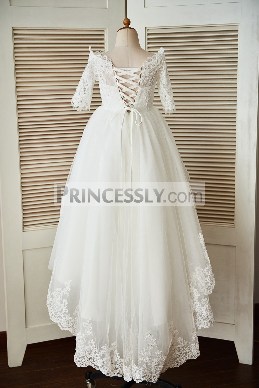 Off Shoulder Long Sleeves Beaded Lace Tulle High Low