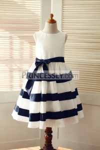 Ivory / Navy Blue Taffeta Stripe Wedding Flower Girl Dress ...