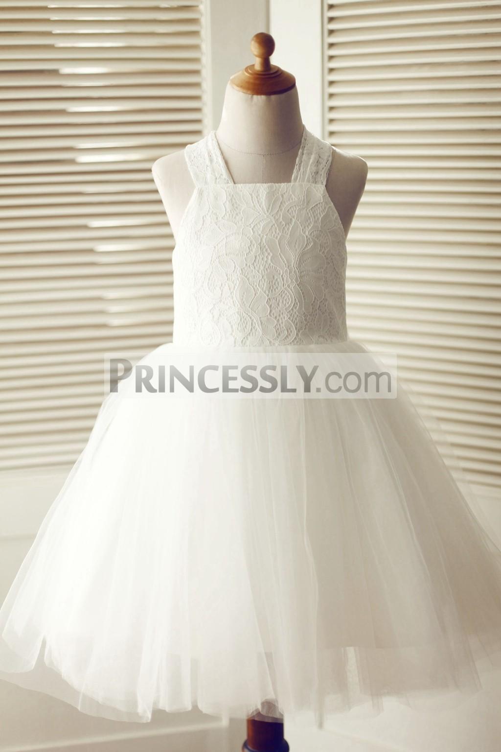 Cross Backless Ivory Lace Tulle Wedding Flower Girl Dress