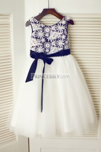 Ivory Crochet Lace Tulle Flower Girl Dress with Black ...