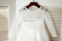 Long Sleeve Lace Flower Girl Dress