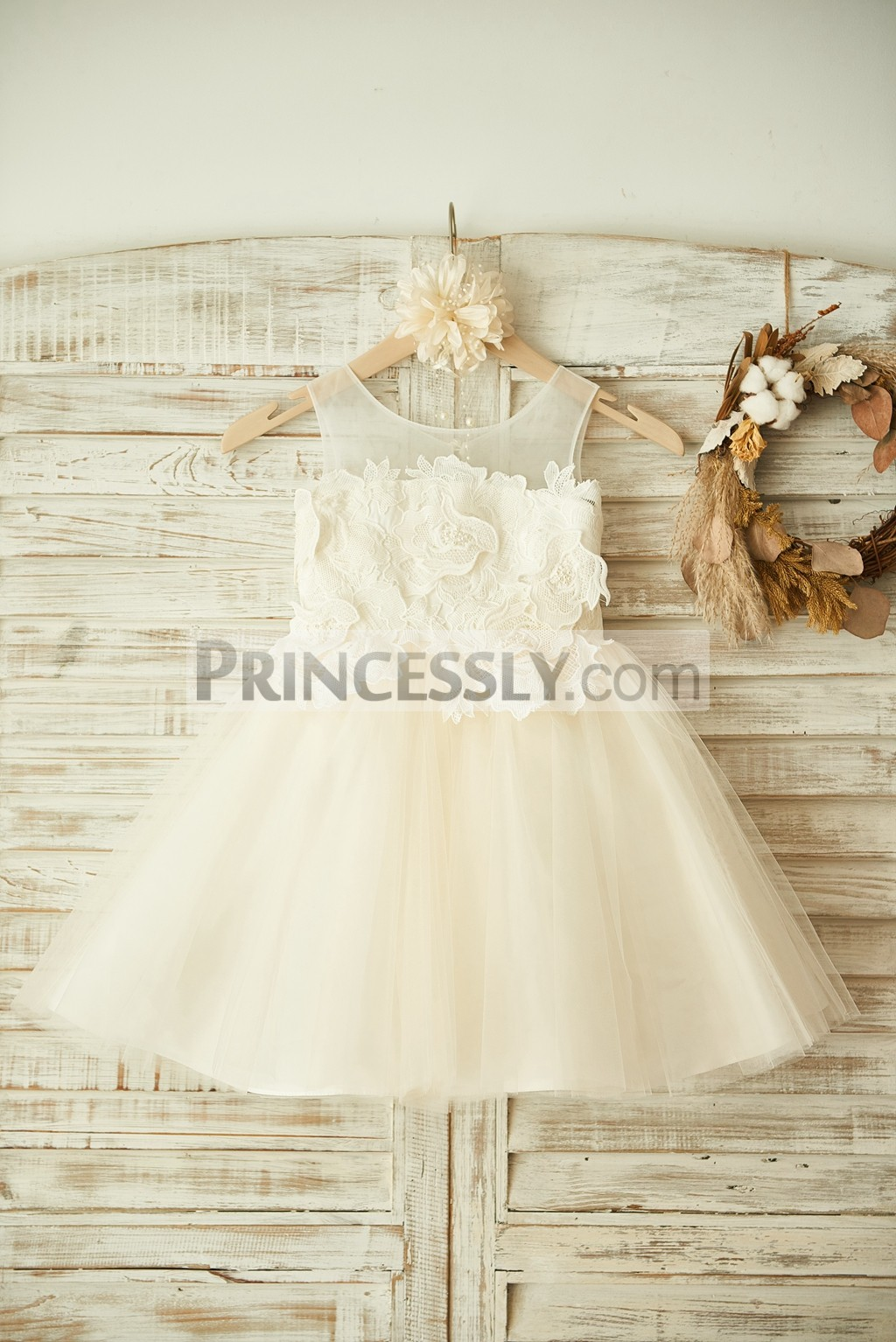 Sheer Neck Ivory Cotton Lace Champagne Tulle Flower Girl