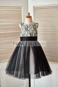 Champagne Rope Grid Black Lace Tulle Flower Girl Dress ...