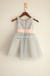 Silver Grey Sequin Tulle Flower Girl Dress with Blush Pink ...