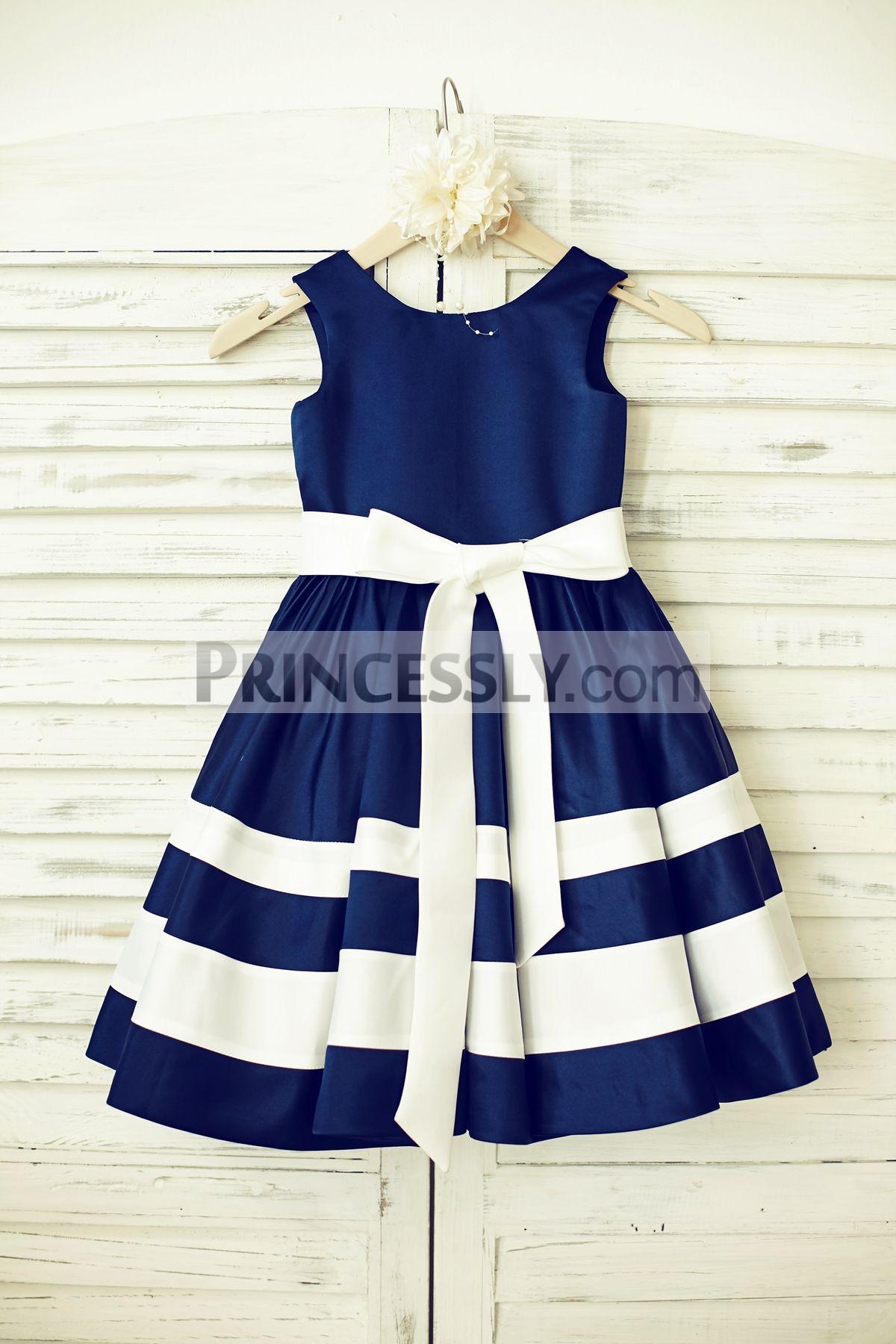 Navy Blue Satin Ivory Stripe Flower Girl Dress with Sash  Avivaly