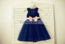Navy Blue Lace Flower Girl Dresses